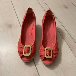 womens 9.5 naturalizer open toe wedges coral